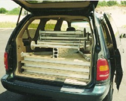Minivan with 3 - 4' x 8' sections and starter kit.  Inter-lock staging is easy to transport.